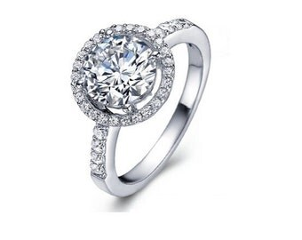 1.5 Carat Round Halo Lab Diamond Engagement Ring