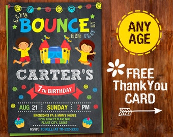 Bounce House invitation,  Jump House Invitation, Bounce House Birthday Invitation, Bounce House Birthday Party, Bounce House Thank You Card