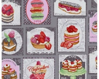 Macaroons and cupcakes grey - Dimension for 1 quantity 25cmX160cm - 100% cotton fabric