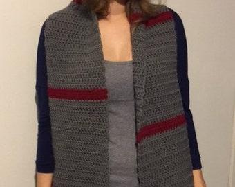 Gray and Burgandy scarf