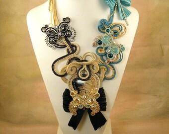 Shibori silk Soutache, Mariposa, OOAK necklace