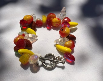 Fruit Glass Beaded Bracelet on Sterling Silver Toggle Clasp