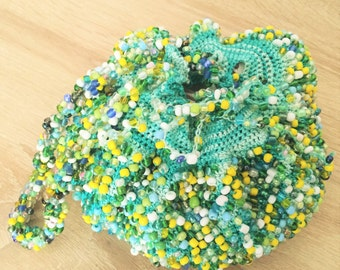 Handmade handbag made of cotton with beads and gift packaging