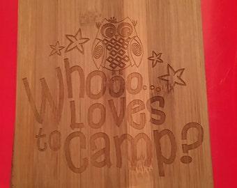 Who loves to camp bamboo wall art