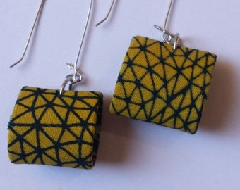 Yellow and Black Patterned Earrings