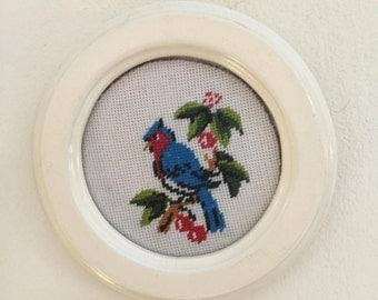 Bird embroidery, framed