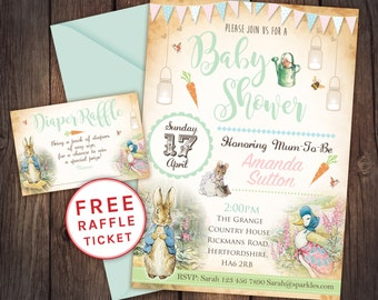Peter rabbit invitation, peter rabbit baby shower, beatrix potter invitation, baby boy, peter rabbit party,baby girl, baby shower invitation