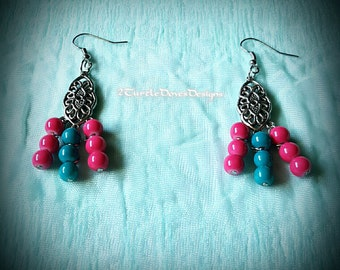 Bubble Gum Pink and Blue Bead and Metal Earrings