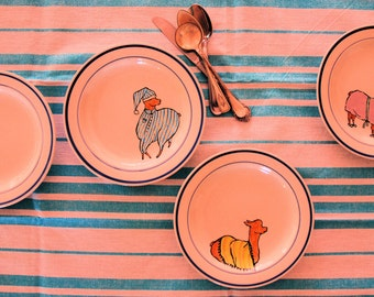 """Four Hand Painted, Upcycled """"Llamas in Pajamas"""" Dessert/Side Plates"""