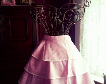 Hand made, ruffled apron, approximately 14 inches long