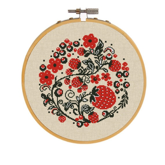 Strawberry counted cross stitch pattern floral wreath folk