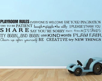 Playroom rules horizontal toy room words vinyl wall decal art