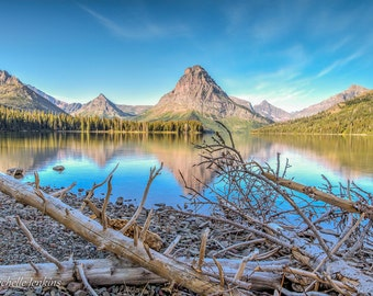 Reflection with Driftwood, mountain, water, lake, sky, clouds, national park