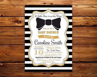 Bow Tie Baby Shower Invitations. Printable Black Gold Baby Shower Invites. Boy Bowtie Baby Shower Invitation. Black and White Stripe.