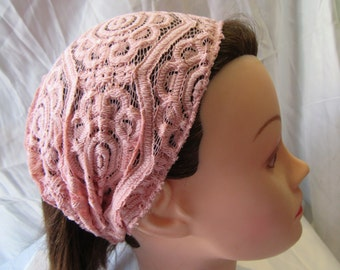 Wide Peach Pink Lace Hairband Headband can be worn in 2 ways. Pink Peach Wide Lace and Elactic Band , Handmade with Love