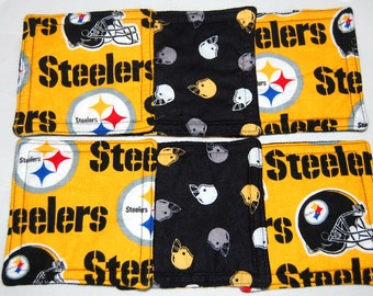Pittsburg Steelers Coasters, Football Coasters, Fabric Coaster Set, Reversible Coasters Quilted Coasters Beverage Coasters Cocktail Coasters