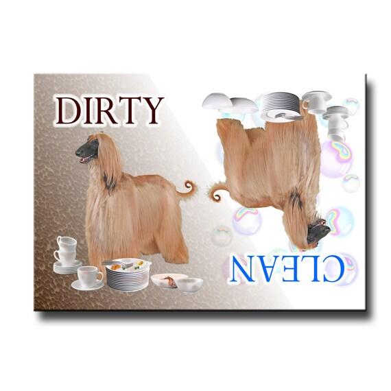 Afghan Hound Clean Dirty Dishwasher Magnet
