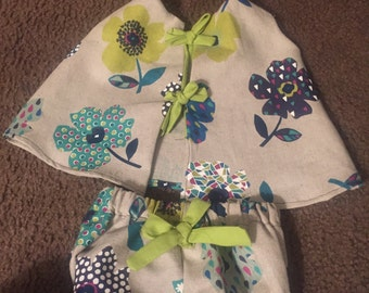 Cute Little Dress with bow tie back with matching  bloomers
