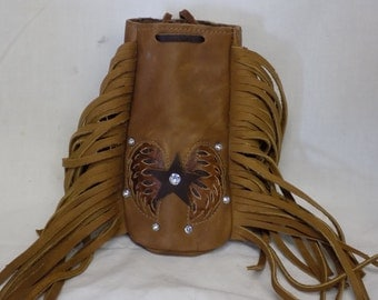 Tan Motorcycle Purse with Star and Wings