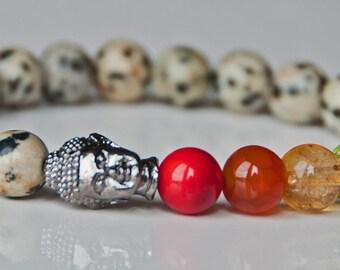 Positivity and Happiness, 7 Chakra Buddha Gemstone Bracelet,Dalmatian Gemstone,Balance Chakra Healing,Meditation Wrist Mala,Yoga bracelet
