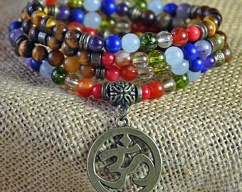 108 Mala Prayer Beads, Yoga Om Mala Necklace, Tiger's Eye Chakra Stackable Bracelet,Mantra Necklace, Healing Meditation Reiki Bracelet,