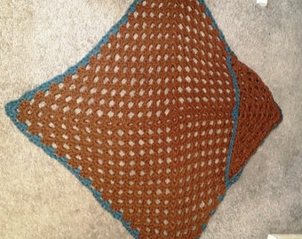 Brown and Teal Baby Hooded Blanket