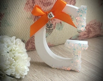 """Hand decorated wooden letter """"G"""" with owl charm"""