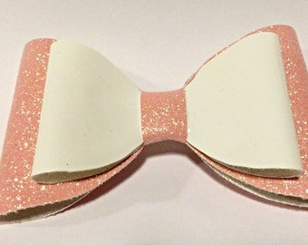 Pink glitter & white leatherette large bow