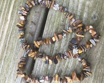 Brown multi-color stone necklace with elephant metal beads