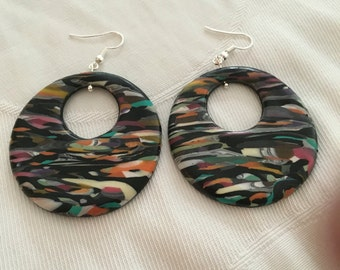 Colorful circle earrings , polymer clay , handmade