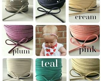 Handtied suede baby headband on nylon headband 25 colours!