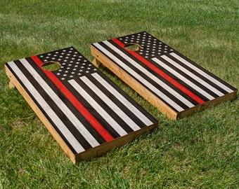 Fire Department Red Stripe American Flag Cornhole Board Set