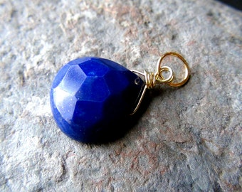 Royal Blue Lapis Lazuli, Lapis Briolette, Vermeil, Gold Wire Pendant, Lapis Lazuli Charm, Birthstone Charm