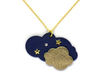 "Collar cloud ""stratus starry"" blue and gold handmade"