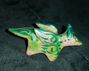 Polymer Clay Totem Talisman Animal Winged Wolf.