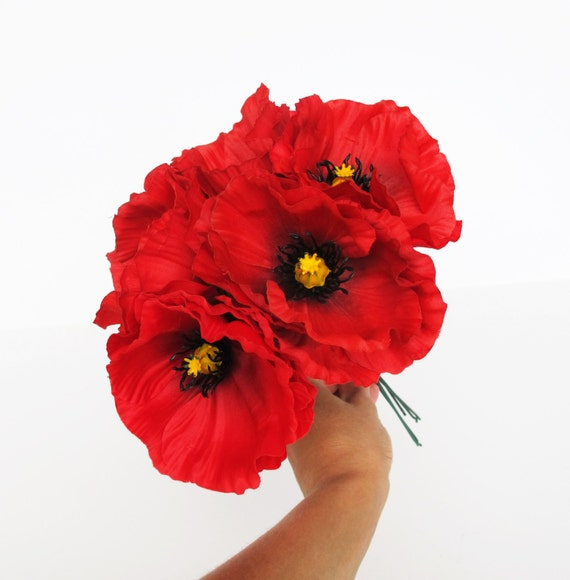 Sale 10 Red Poppies Artificial Flowers Silk Poppy 4 3