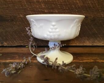 Vintage Milk Glass Pedestal Bowl, Grape Pattern, Footed Dish, Compote.