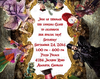 Alice Throught the Looking Glass Invitation, Alice in Wonderland Birthday Invitation, Alice Through the Looking Glass Birthday Invitation