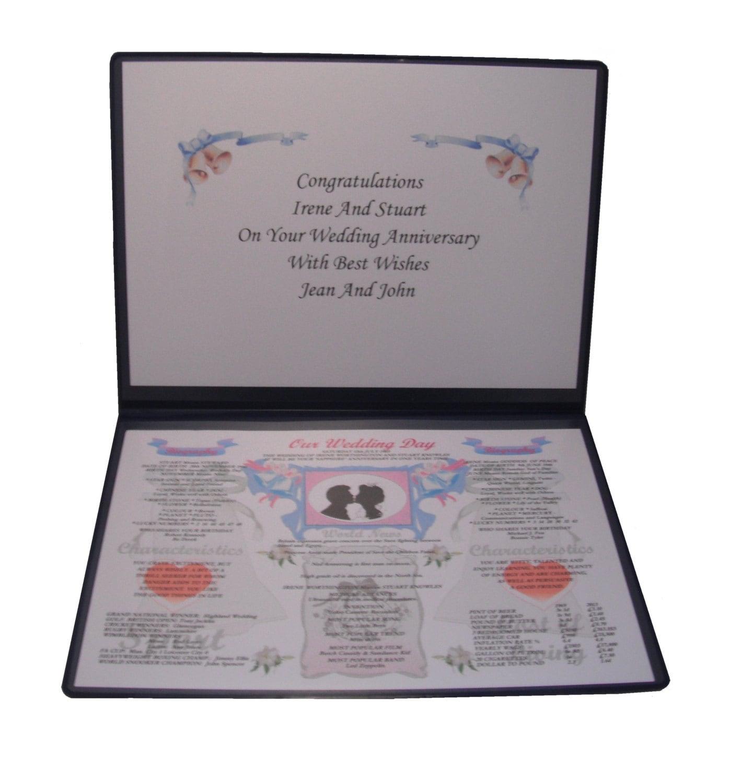 Sapphire Wedding Anniversary Gifts: PERSONALISED Sapphire 45th Wedding Anniversary Gift Folder