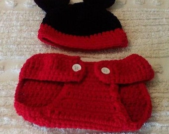 hand crocheted  infant Mickey Mouse 2 piece diaper cover set