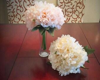 2 Lot Hydrangea Bouquet Silk Flowers Bridal Wedding Bouquet, Party or Home Decorative Flower Arrangement - Bridal Bouquet Table Centerpiece