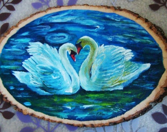Swans in Love Wood Painting (original)  FREE SHIPPING