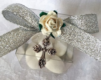 silver tone cross favour box for a christening or  baptism