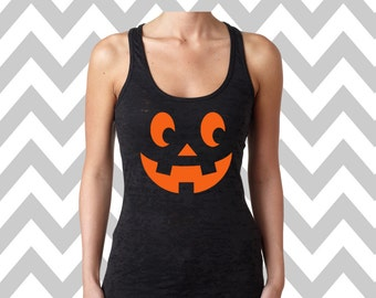 Pumpkin Face Burnout Tank Jack-O-Lantern Halloween Racerback Tank Top Scary Pumpkin Face Tank Top  Halloween Tank Top Halloween Party Tee