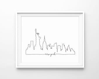 NYC Skyline Print, New York City Skyline Outline Poster, City Skyline Sketch Art, Minimalist, Home Wall Art, Large Poster, Digital Download