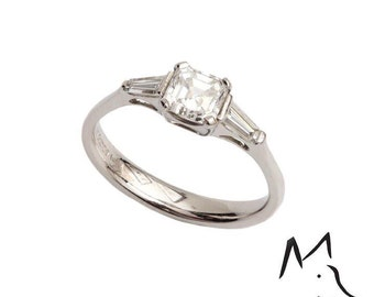 Platinum and Asscher Cut Diamond Engagement Ring