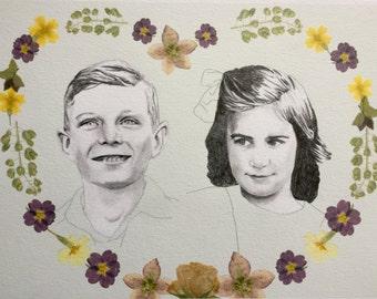 Hand Rendered Custom Couple Illustration
