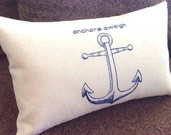 ANCHORS AWEIGH Nautical Embroidered Boat Pillow, Anchor, Unique, One of a Kind, Yacht Gift, Coastal Gift, Cottage, Ocean, Nautical Gift
