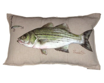 STRIPED BASS PILLOW With Lure - Fish Throw Pillow Cover, Hand Painted, Fish Decor