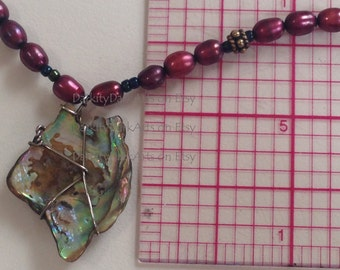 Abalone shell, freshwater pearl, gold vermeil choker necklace